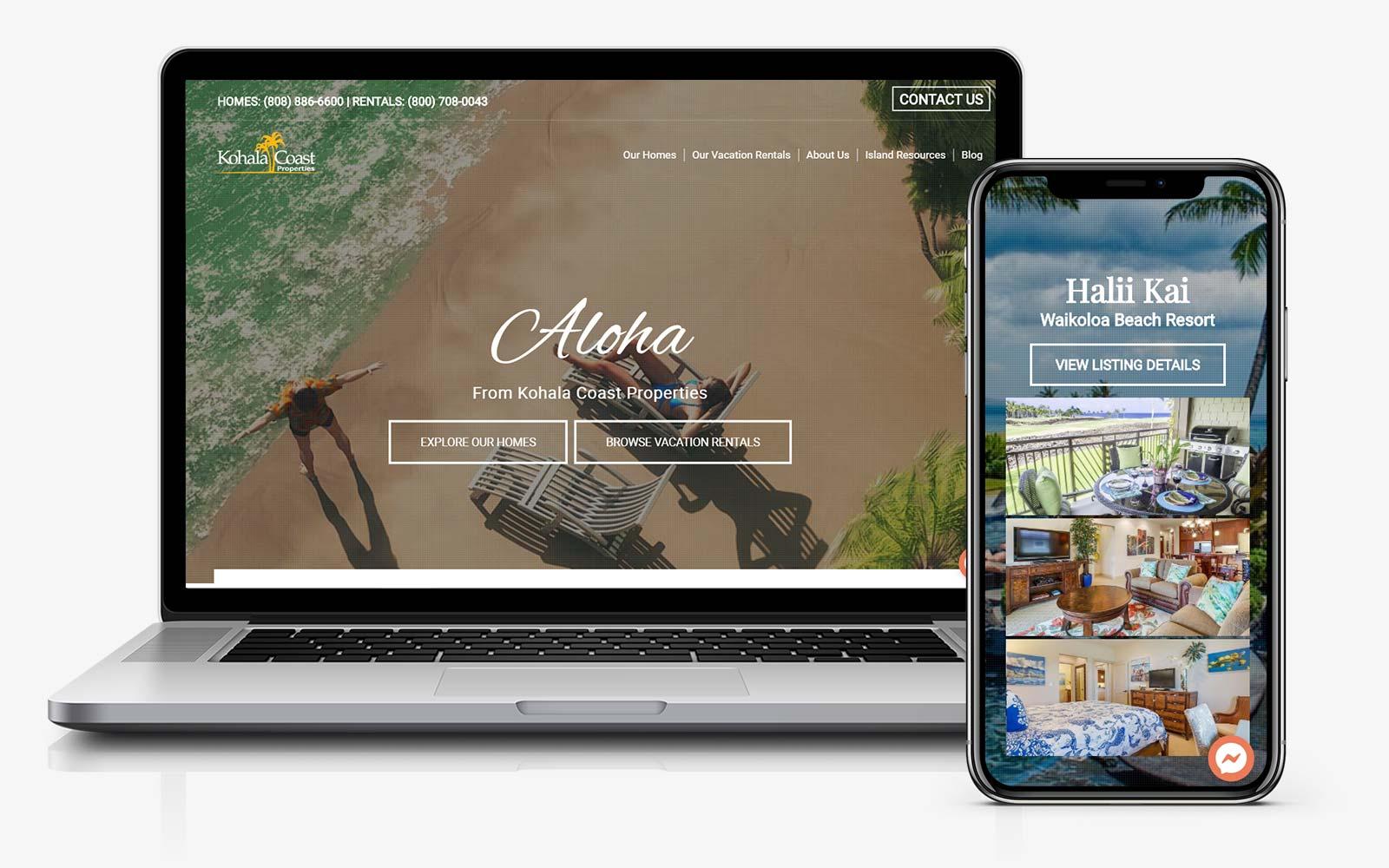 vacation rental website design hawaii