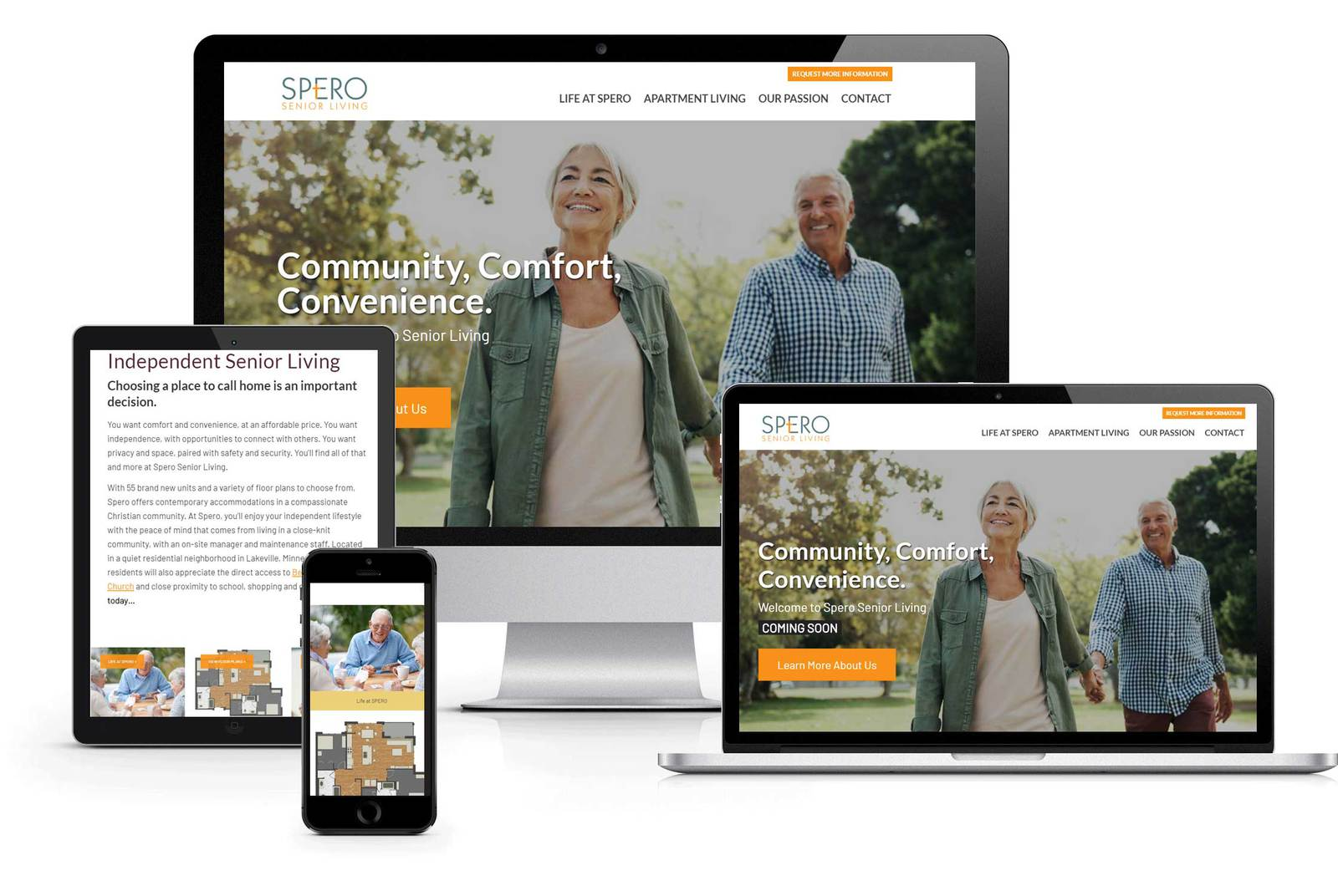 web design spero senior living
