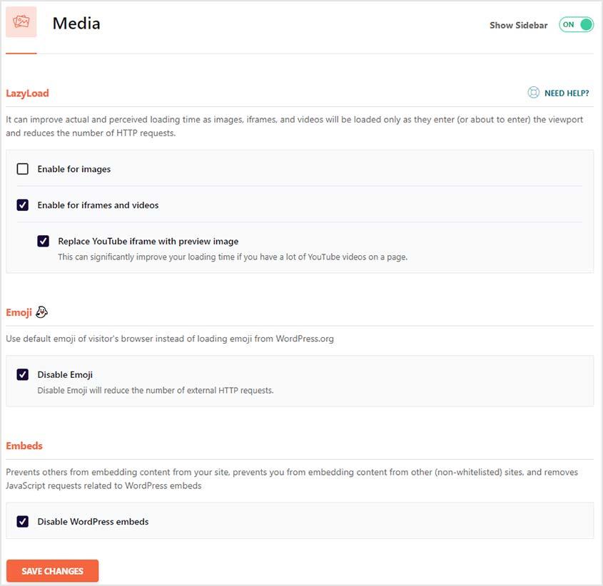 wp-rocket media settings