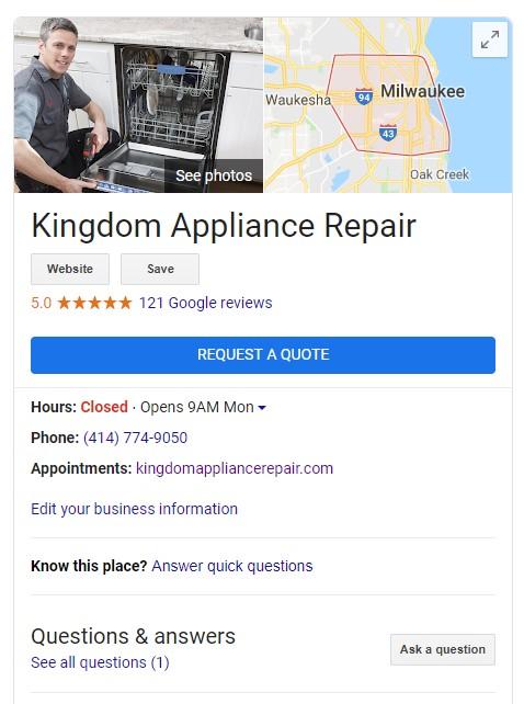 google local listing appliance repairman