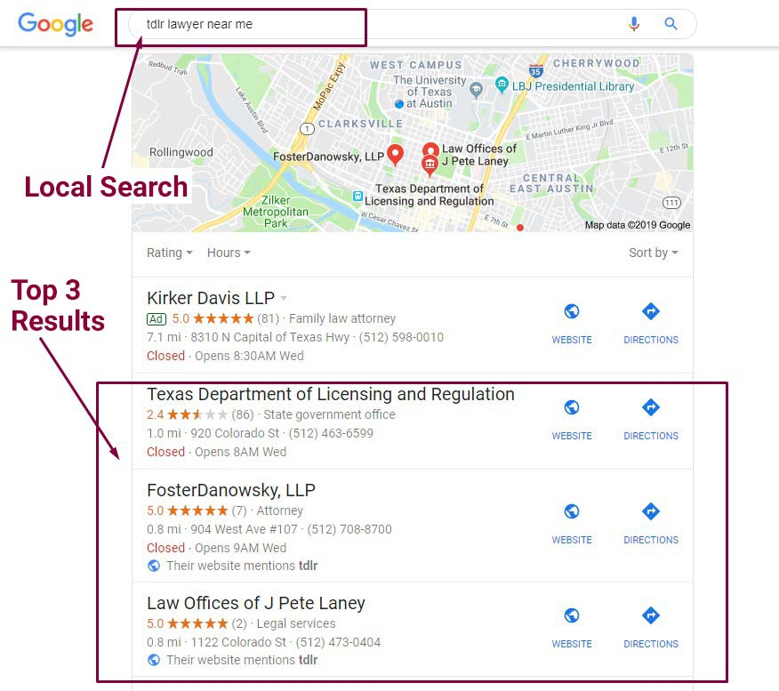 local search results small business