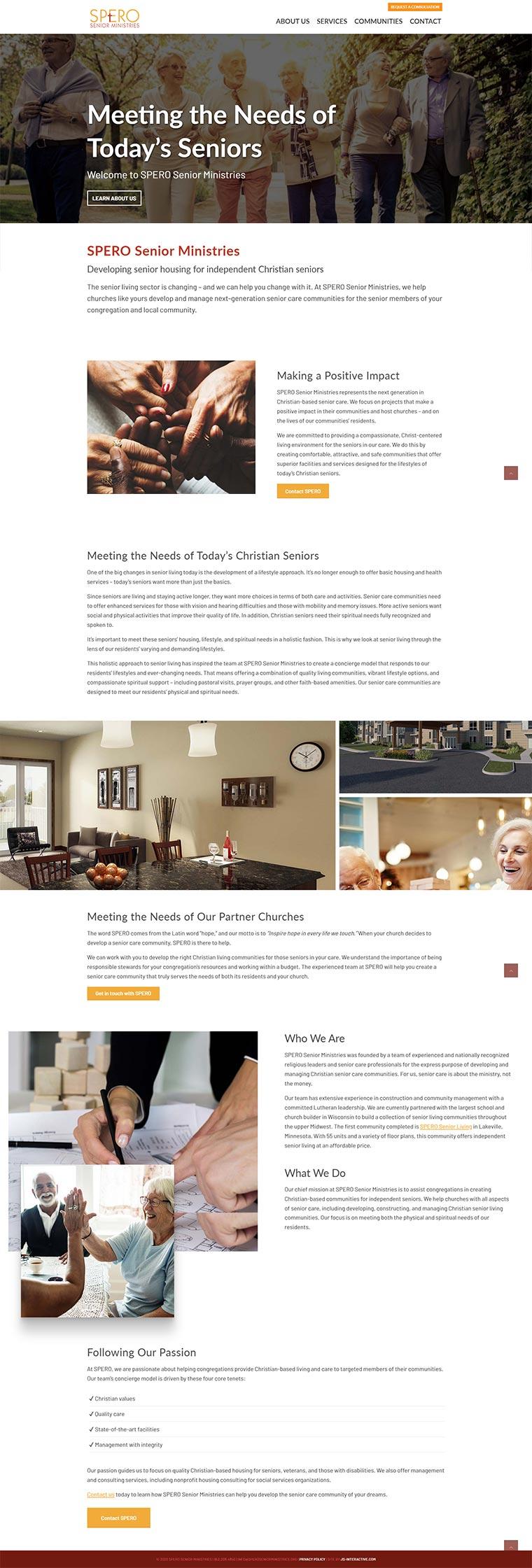 spero website design desktop