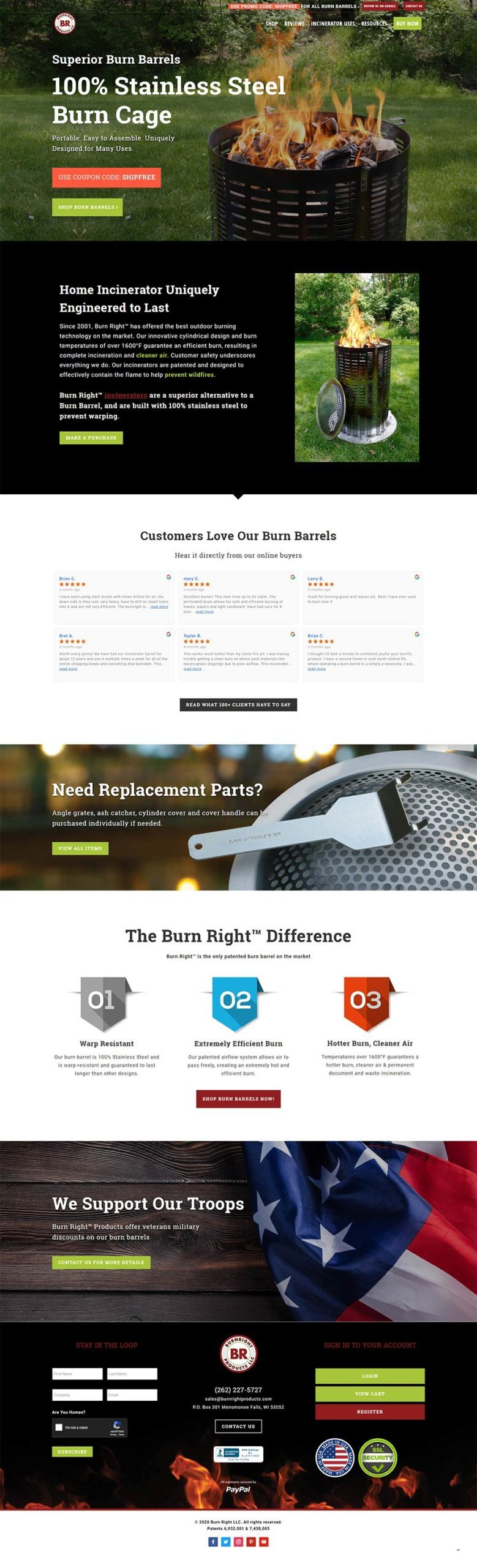 burn right products web design