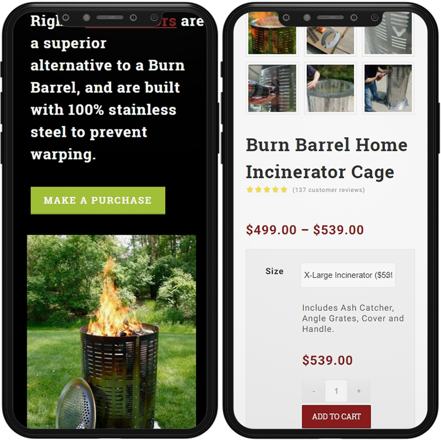 burn right responsive web design