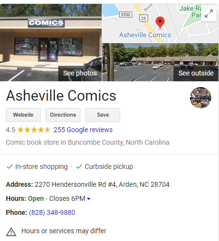 ashville comics local listing