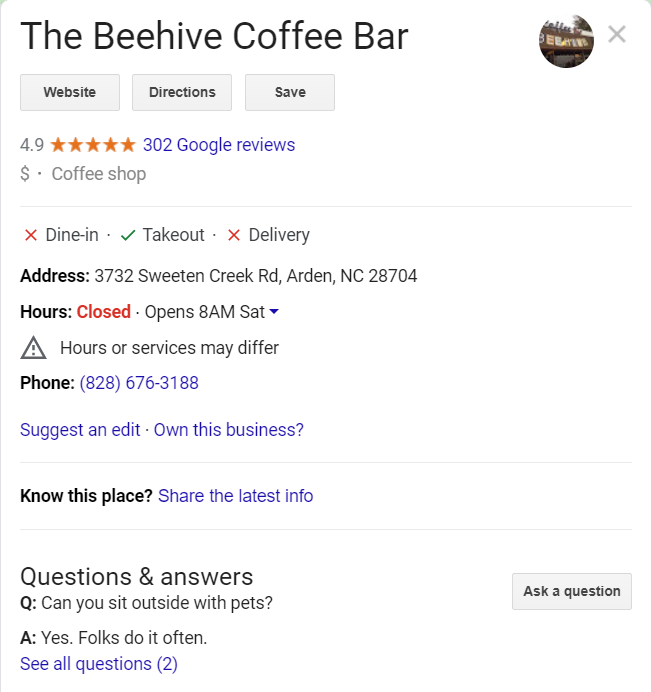 local search for coffee bar