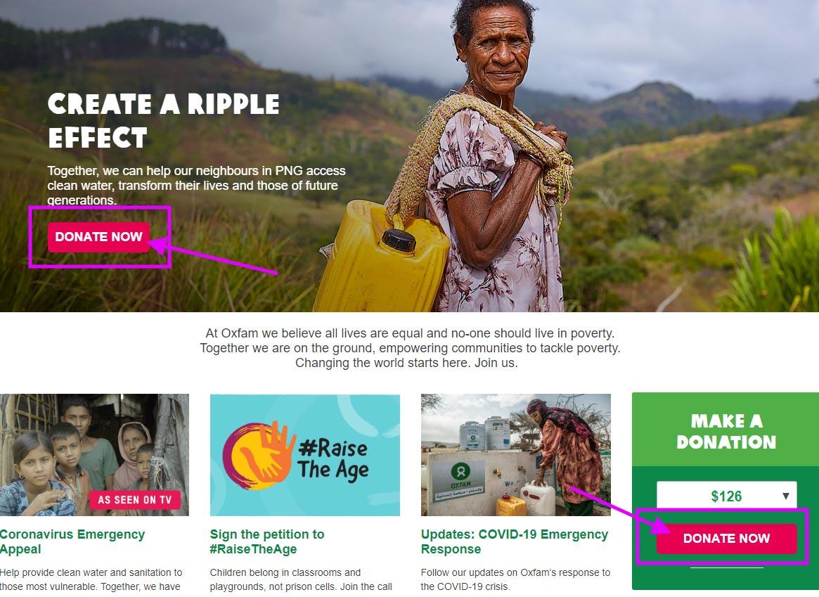 clear cta nonprofit sites