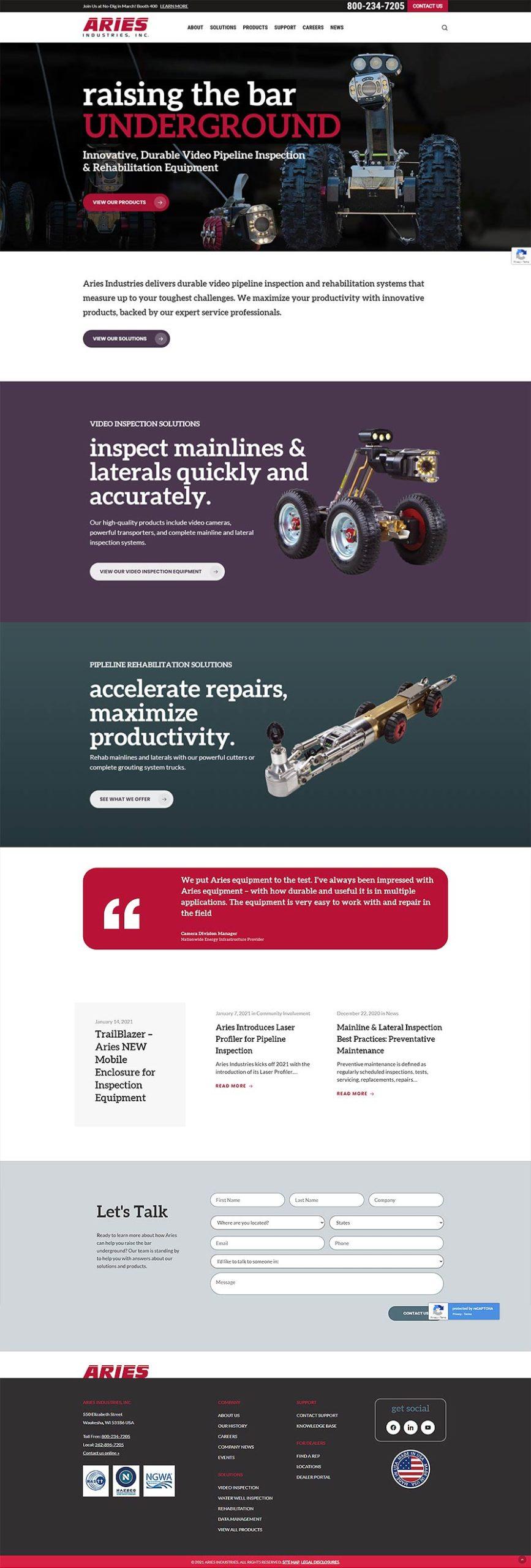 aries industries webite design