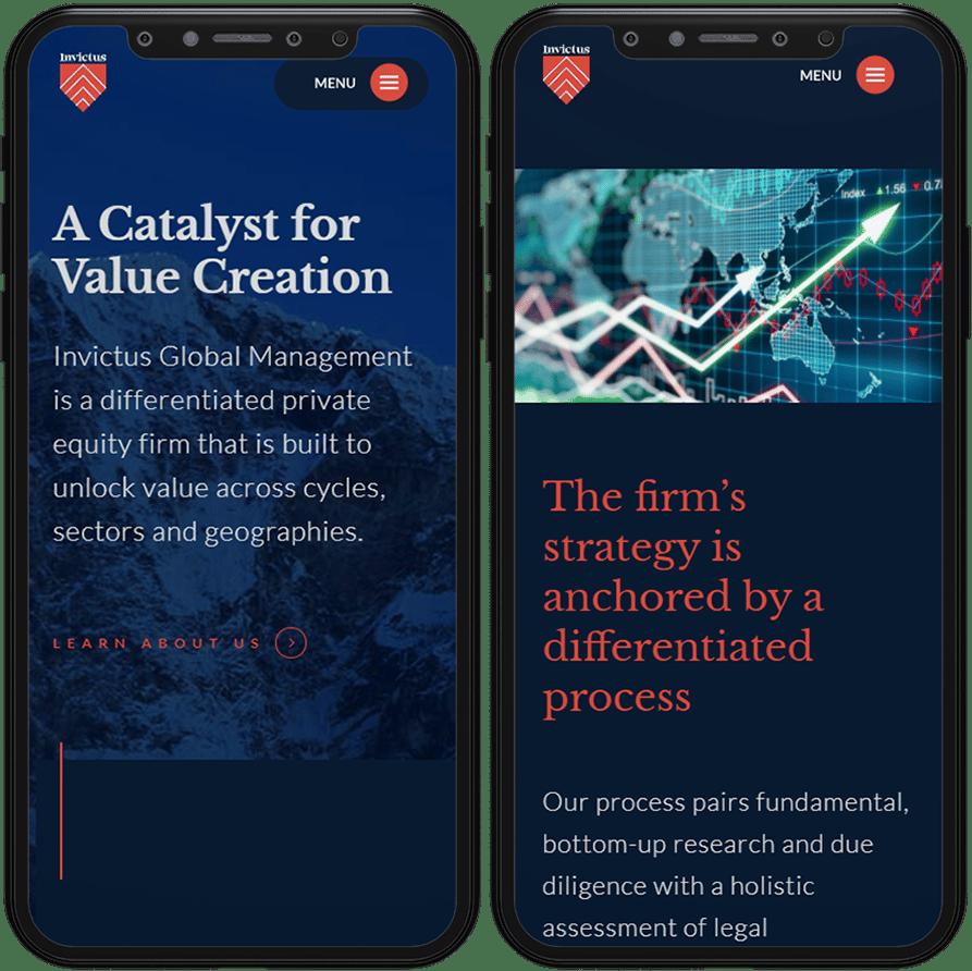 invictus website mobile design