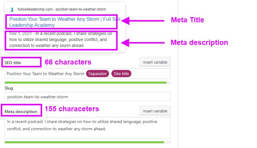 meta title meta description